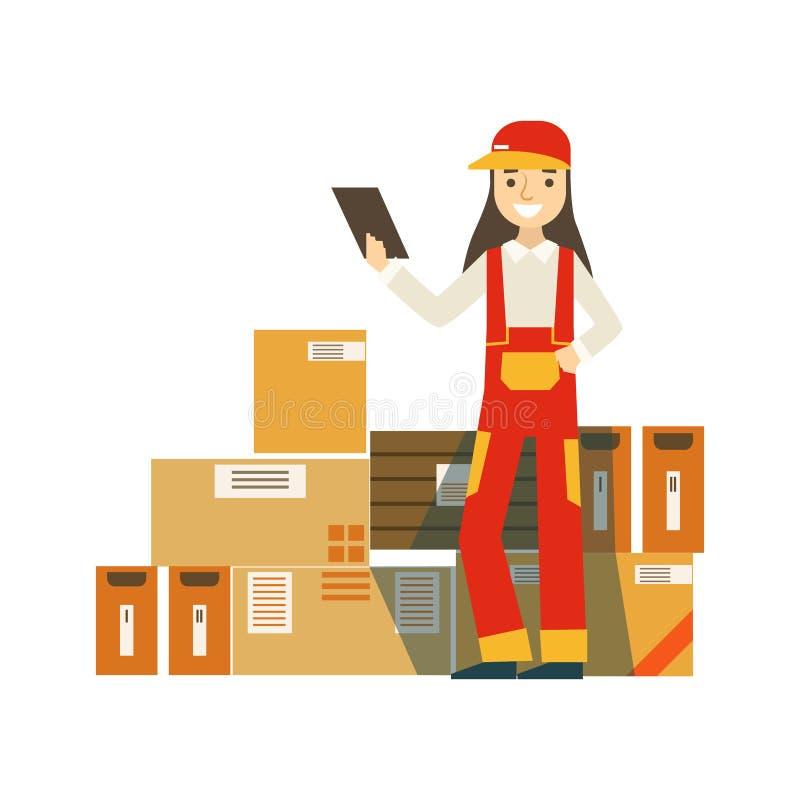 Pacotes da caixa de papel empilhados acima no armazém com um trabalhador da empresa de entrega que está em seguida de verificação ilustração do vetor