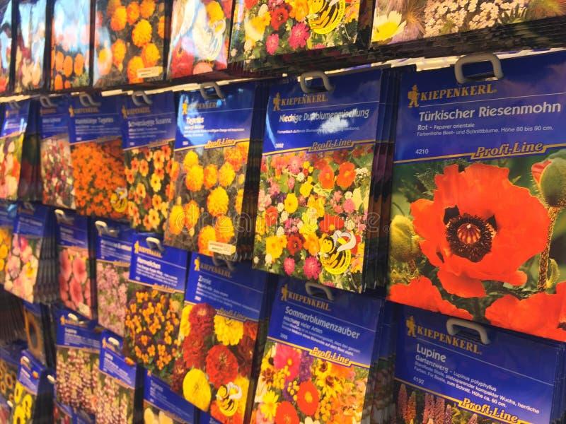 Pacotes da semente de flor fotografia de stock