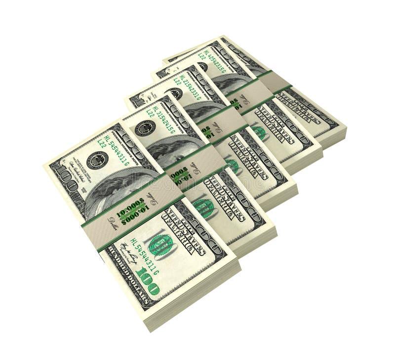 Pacotes de 100 cédulas do dólar ilustração do vetor