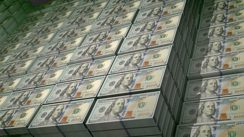 Pacotes de 100 cédulas do dólar em um depósito ilustração stock
