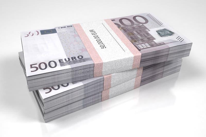 Pacotes de 500 contas do Euro ilustração stock