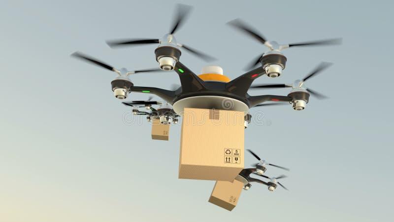 Pacotes do cartão da entrega dos zangões de Hexacopter na formação video estoque