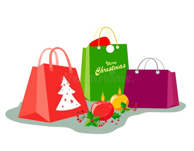 Pacotes do presente para o Natal com uma decoração das velas ao estilo do plano e do pseudo--volume ilustração royalty free