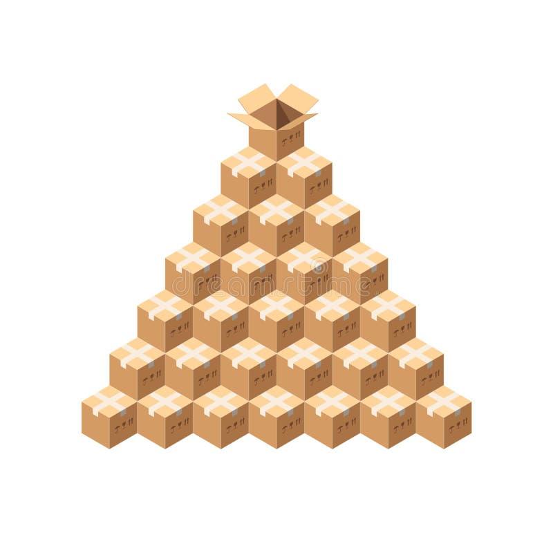 Pacotes isométricos do vetor Pilha inteira de pacotes gravados Pirâmide das caixas de cartão isoladas no branco ilustração royalty free