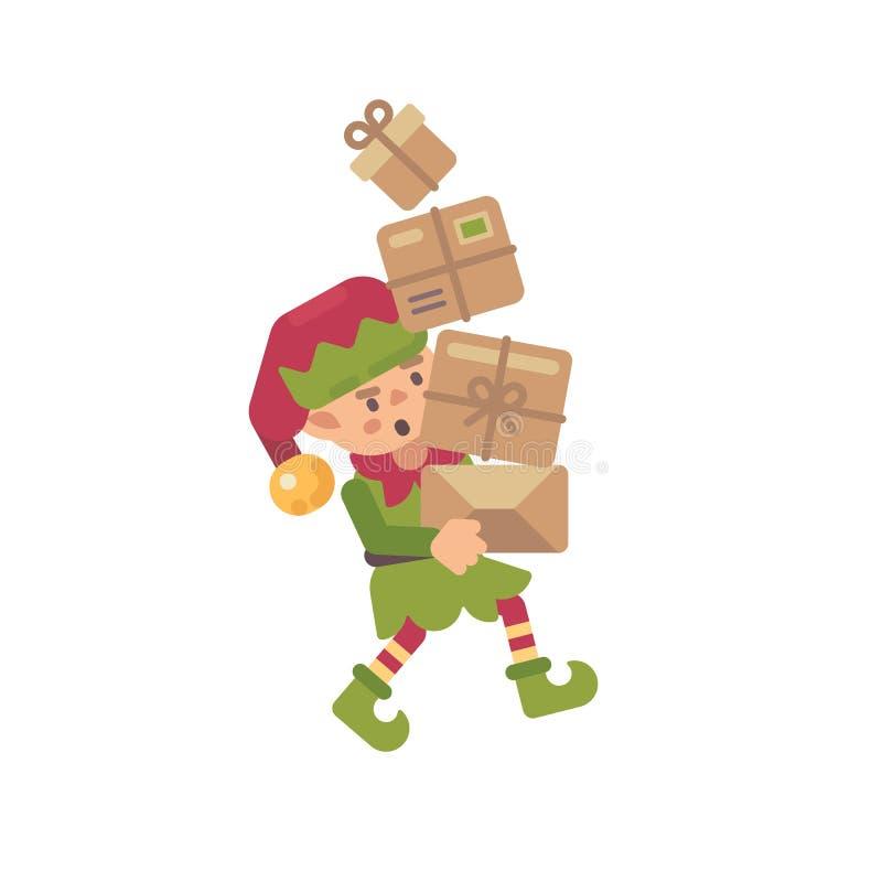 Pacotes levando do duende ocupado bonito do Natal com presentes para crianças ilustração royalty free