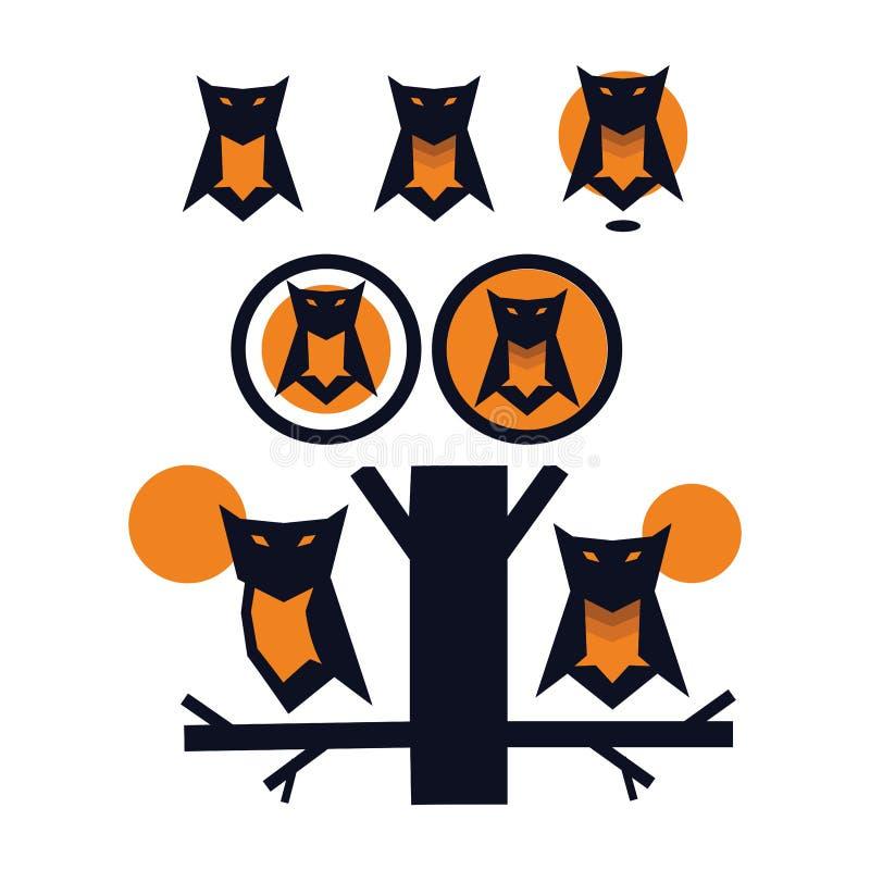 Pacotes originais das ilustrações da mascote da coruja ilustração royalty free