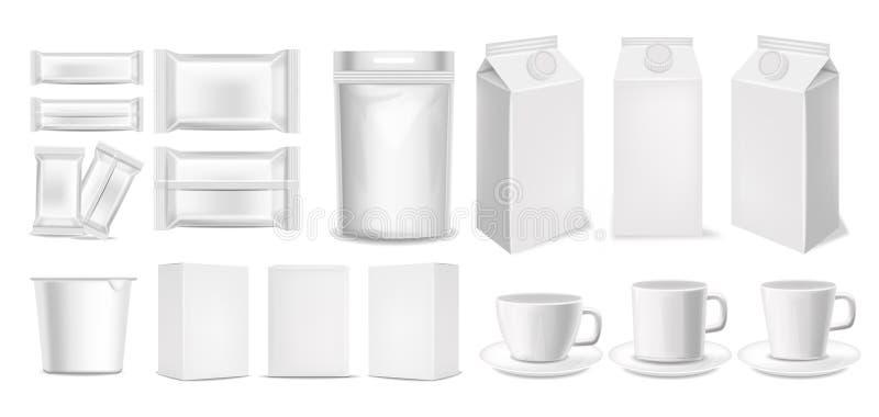 Pacotes realísticos 3d, empacotamento ajustado grande ilustração stock
