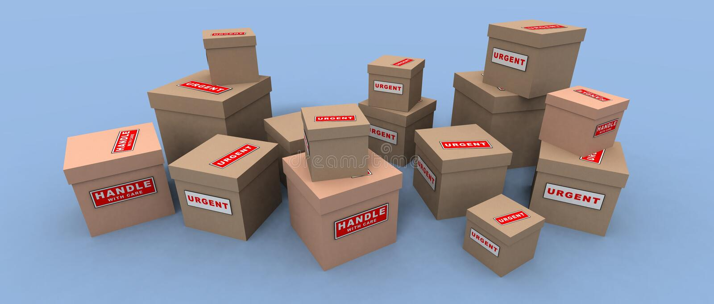 Pacotes Urgentes E Frágeis Fotografia de Stock Royalty Free