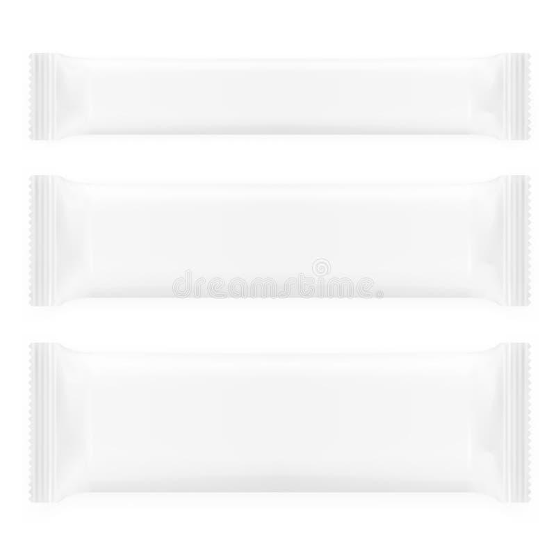 Pacotes vazios realísticos do molde para o petisco, o chocolate ou os doces grupo do bloco plástico ilustração stock