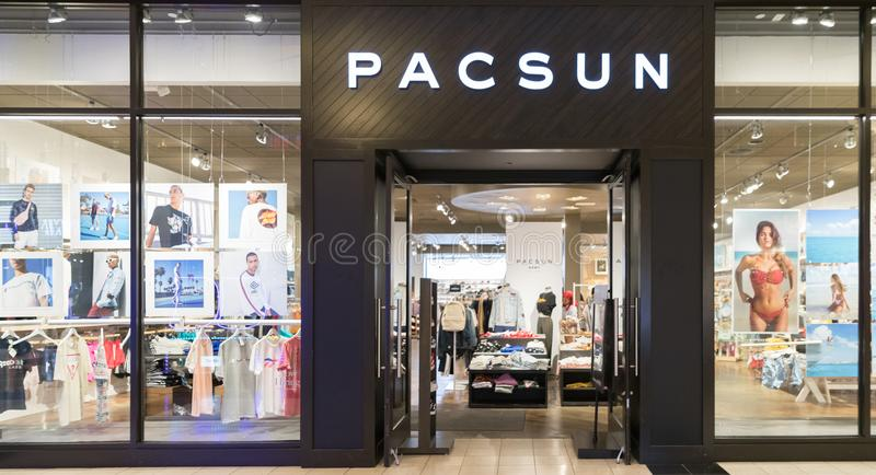 Pacsun Logo On Store Front Sign. Philadelphia, Pennsylvania, May 21 2018:Pacsun Logo On Store Front Sign royalty free stock photography