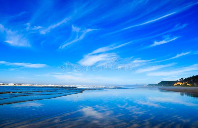 Pacyficzna północnego zachodu oceanu plaży linia brzegowa Chmury odbija na mokrym piasku zdjęcie stock