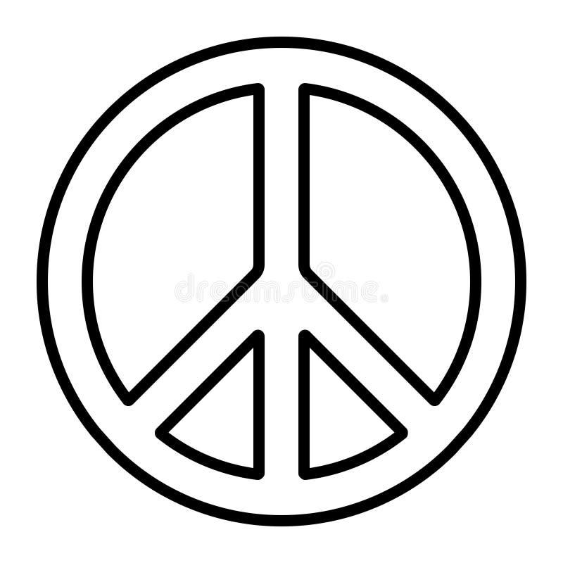 Pacyficzny międzynarodowy pokoju symbolu rozbrojenia wektorowy pokojowy znak, antywojenny ruch, konturowa ikona ilustracji