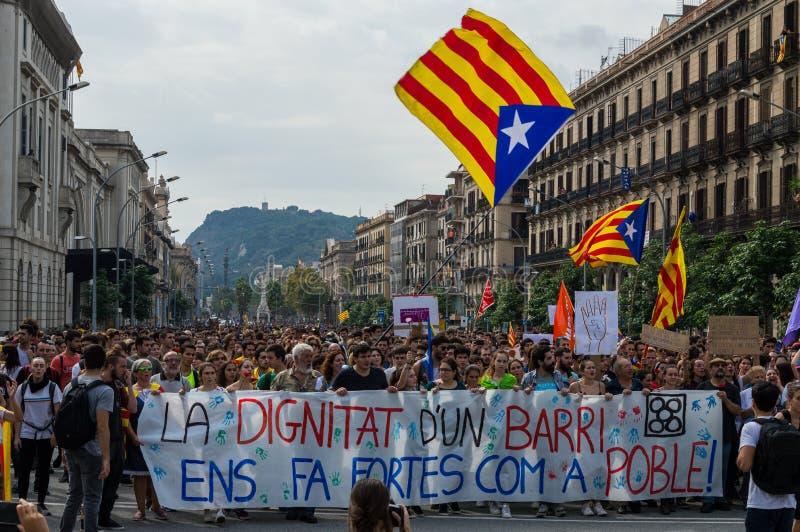 Pacyfik strajka protest, Barcelona zdjęcie royalty free