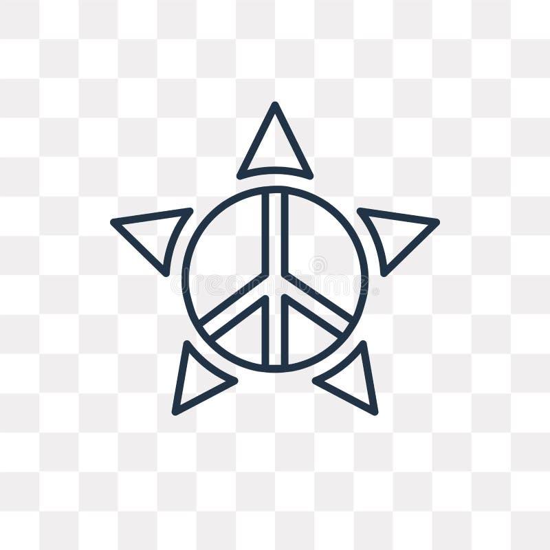 Pacyfizm wektorowa ikona odizolowywająca na przejrzystym tle, liniowym royalty ilustracja