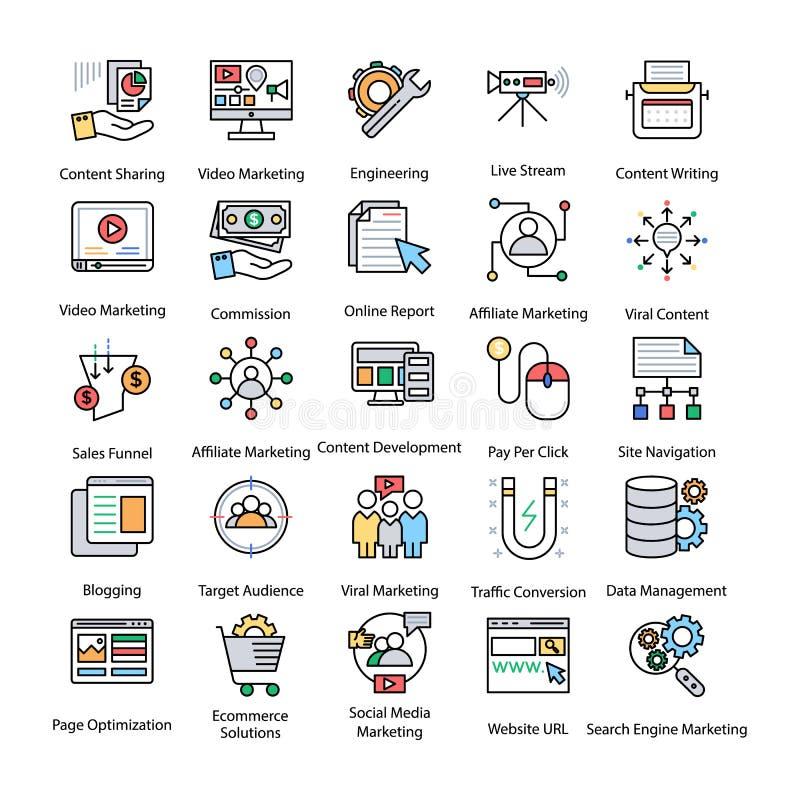 Paczka Barwione interneta i Digital Marketingowe ikony royalty ilustracja