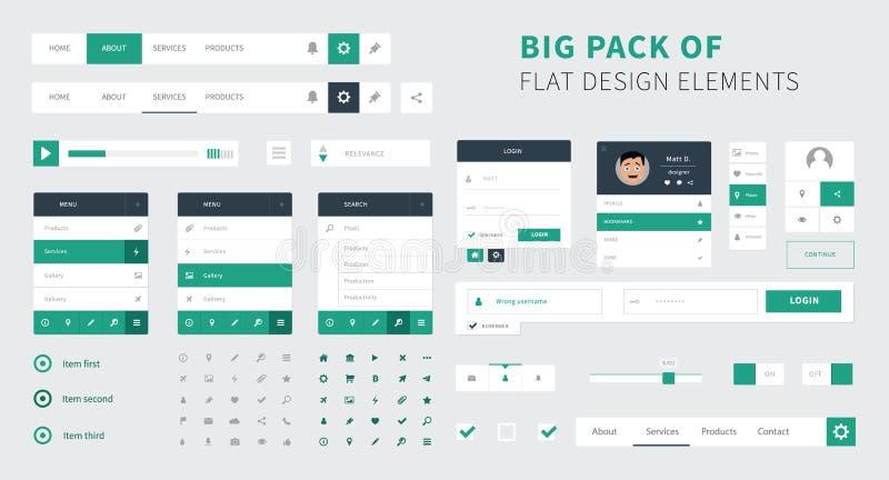 Paczka Płaski projekta ui zestawu wektor dla webdesign ilustracja wektor