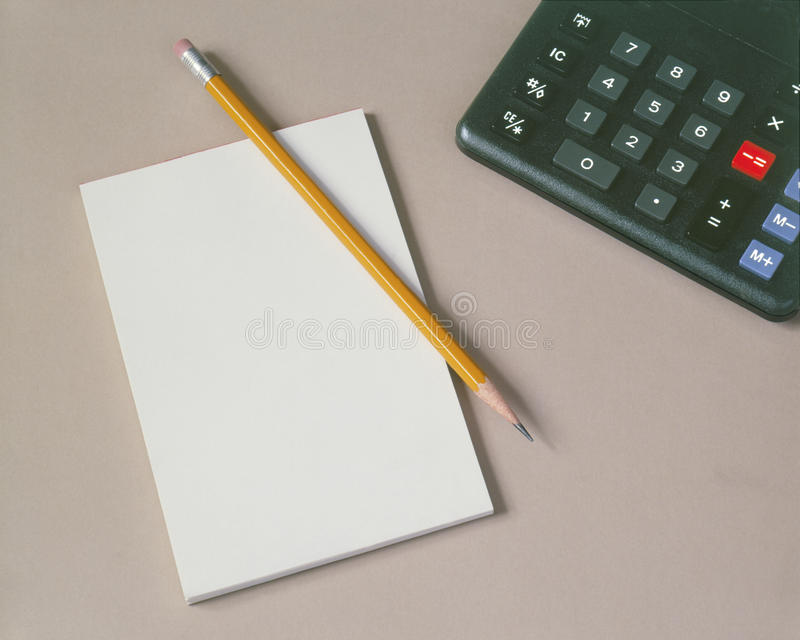 Download Pad Pencil & Calculator stock photo. Image of office - 16291422