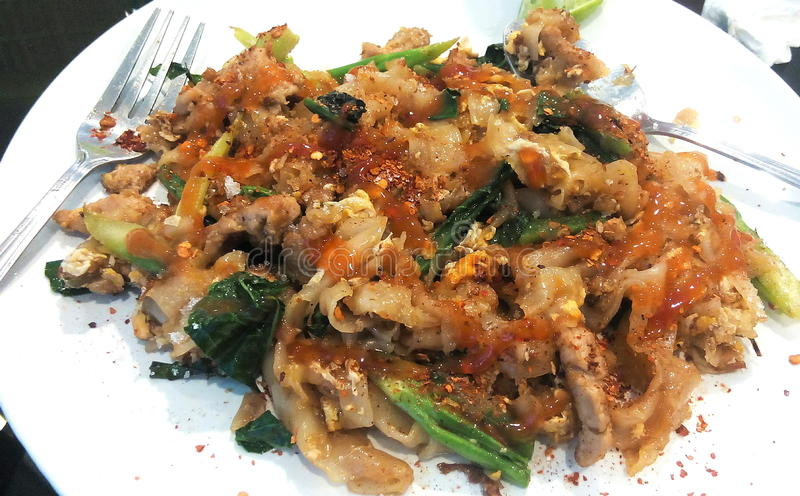 Pad-See-Aew : Fride noodle with pork .Thailand royalty free stock photo