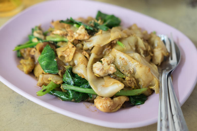 Pad See-Ew. Fried Noodles in Sweet Soy Sauce with Pork Pad See-Ew stock photos