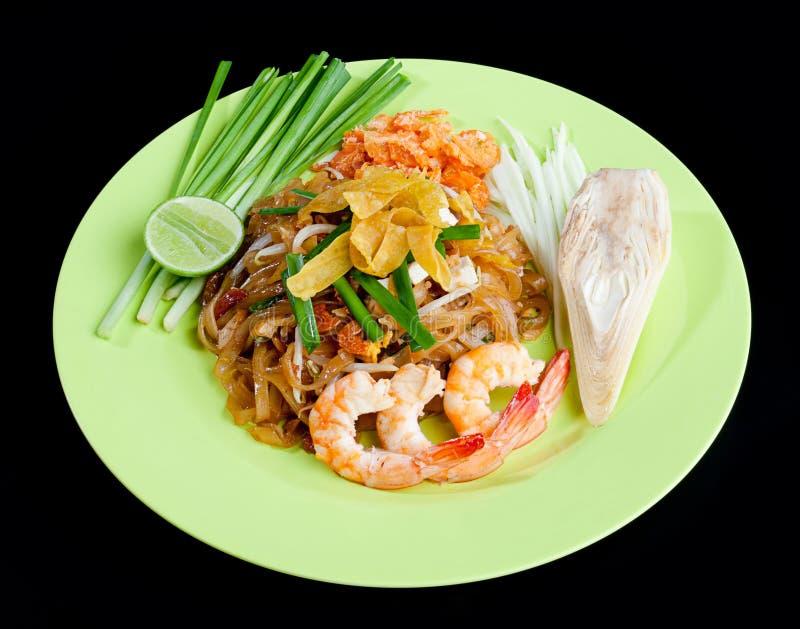 Shrimps Pad Thai a Thai popular food menu isolated stock photography