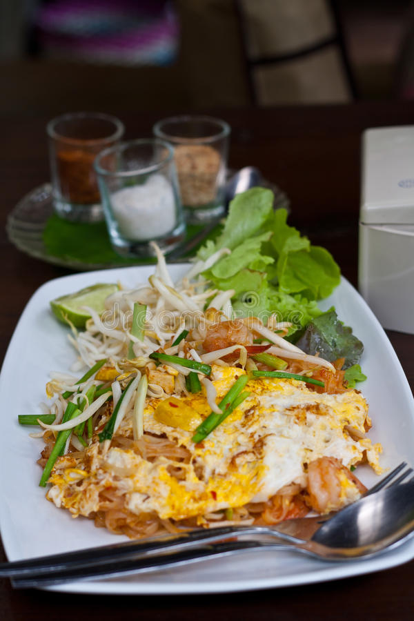 Pad Thai. With Shrimp. Noodles Thai style royalty free stock images
