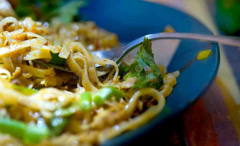 Pad Thai. A closeup shot of a colorful plate of Pad Thai noodles with Cilantro royalty free stock images