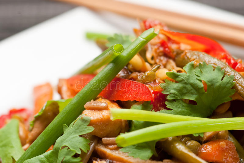 Pad Thai. With chicken and buckwheat noodles on white plate with chopsticks stock photo