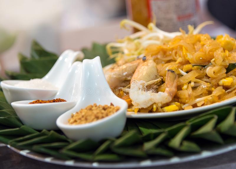 Pad Thai Goong Sod Fried Rice Sticks with Shrimp stock images