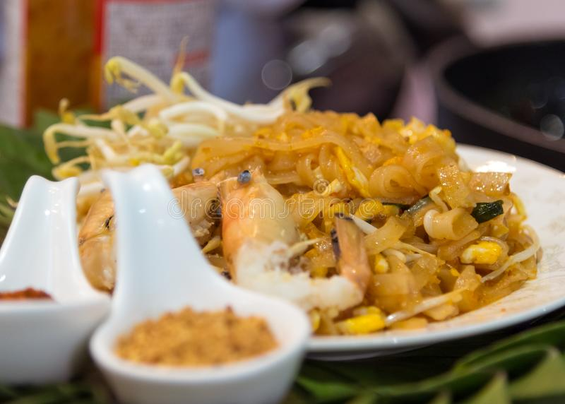 Pad Thai Goong Sod Fried Rice Sticks with Shrimp stock image