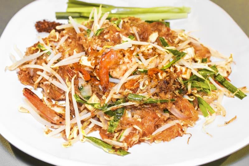 Pad Thai Goong Sod Fried Rice Sticks with Shrimp.Thai food. stock photography