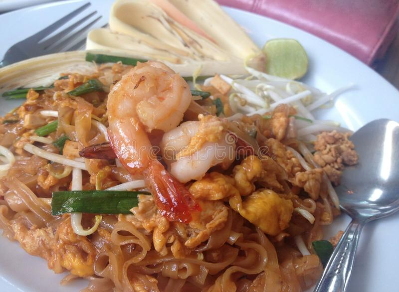 Pad Thai Goong Sod. Popular Thai Fried Noodles with Shrimps stock photography