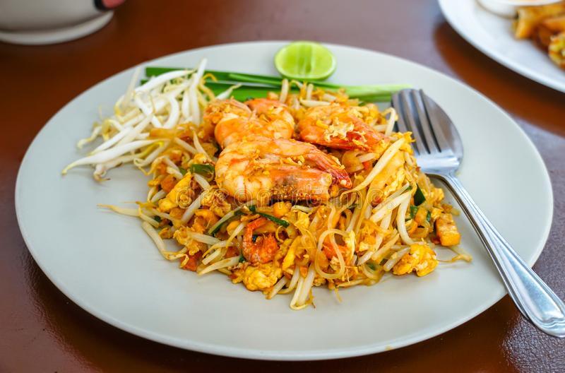 Pad Thai Goong Sod on a white plate. Pad Thai Goong Sod,Fried Rice Sticks with Shrimp on a white plate royalty free stock photography