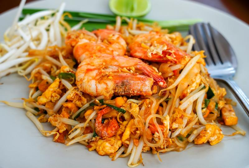 Pad Thai Goong Sod on a white plate. Pad Thai Goong Sod,Fried Rice Sticks with Shrimp on a white plate royalty free stock photos