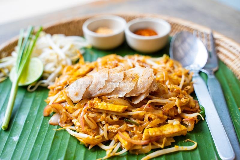 Pad Thai with grilled chicken royalty free stock photography
