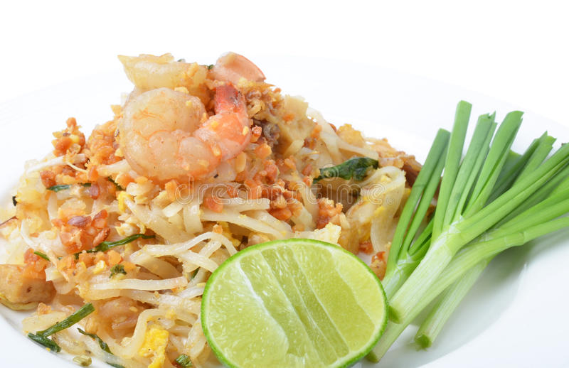 Pad thai. Isolated on a white background stock images