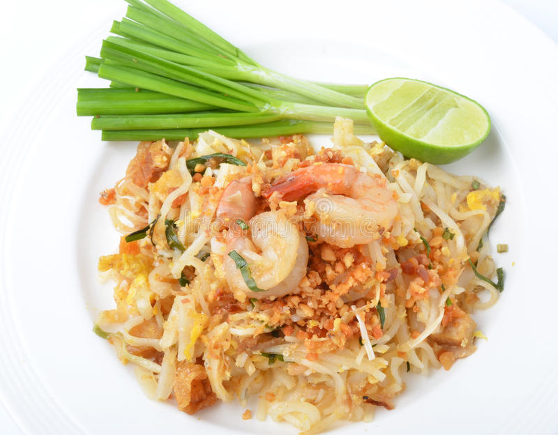 Pad thai. Isolated on a white background royalty free stock photography