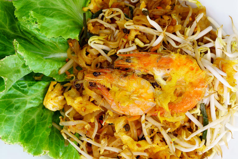 Pad Thai Koong Sod. Or Stir fried rice noodles royalty free stock photo