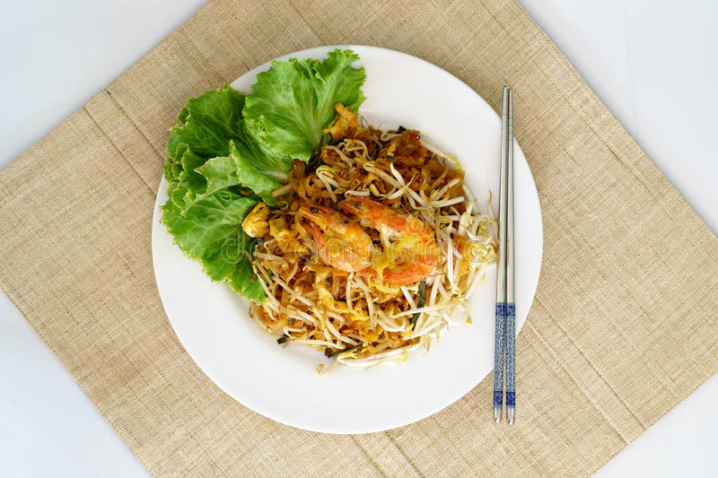 Pad Thai Koong Sod. Or Stir fried rice noodles stock photos