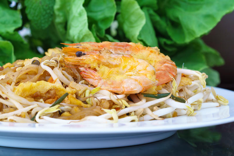 Pad Thai Koong Sod. Or Stir fried rice noodles stock image