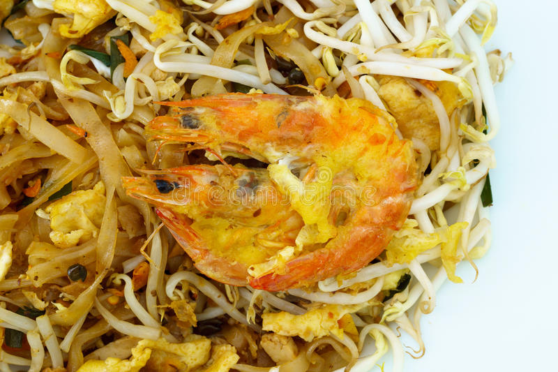 Pad Thai Koong Sod. Or Stir fried rice noodles stock images