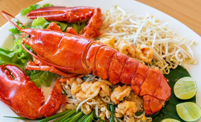 Pad thai lobster royalty free stock photography