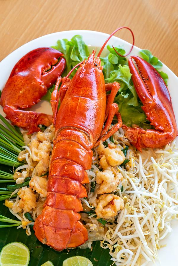 Pad thai lobster royalty free stock image