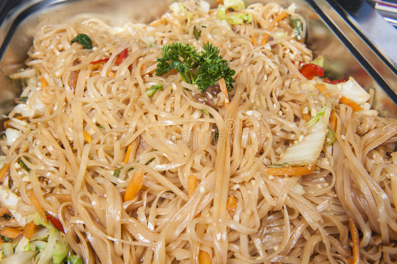 Pad Thai meal at a chinese restaurant buffet stock images