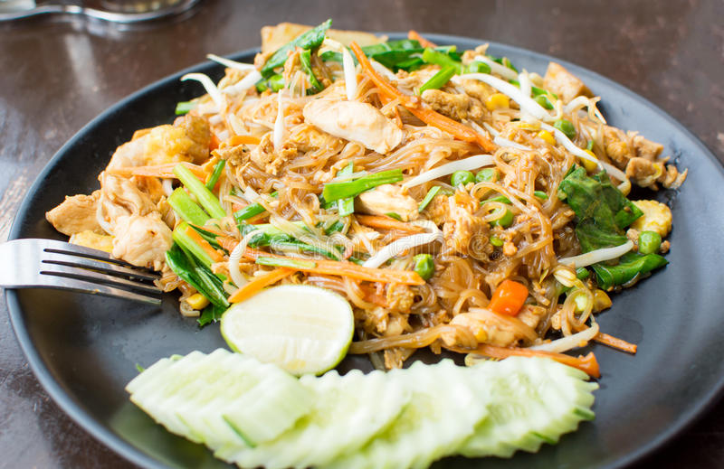 Pad Thai meal served on a plate stock photography