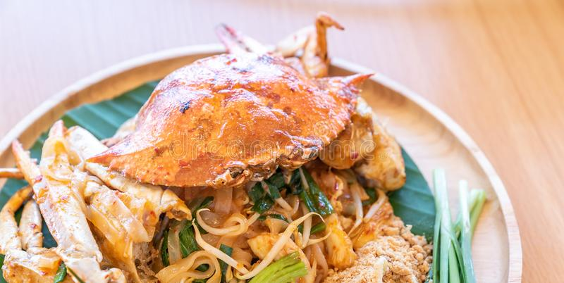 Pad thai noodle with blue crab stock photos