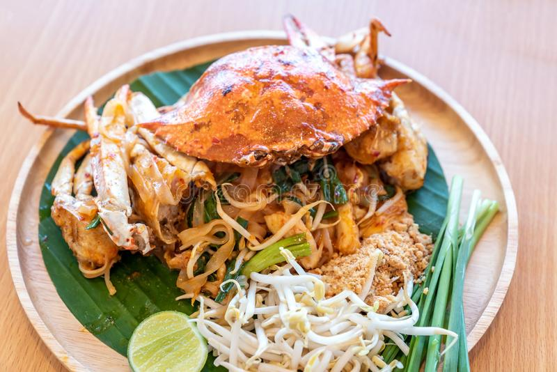 Pad thai noodle with blue crab. Pad thai, stir fried noodle, with blue crab. Thai eastern tradinational food cuisine royalty free stock images