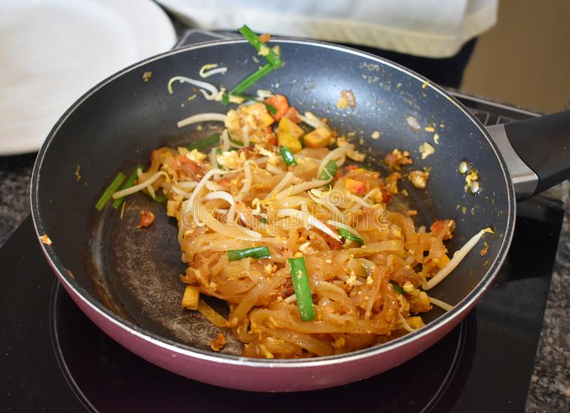 Pad Thai Noodle is Thai Food Style. The one of Thailand`s nation. Al main dish, the popular food in Thailand royalty free stock photo
