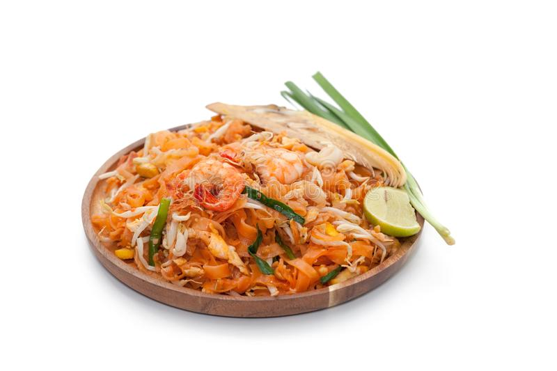 Pad thai noodle on plate. Isolated on white background stock photography