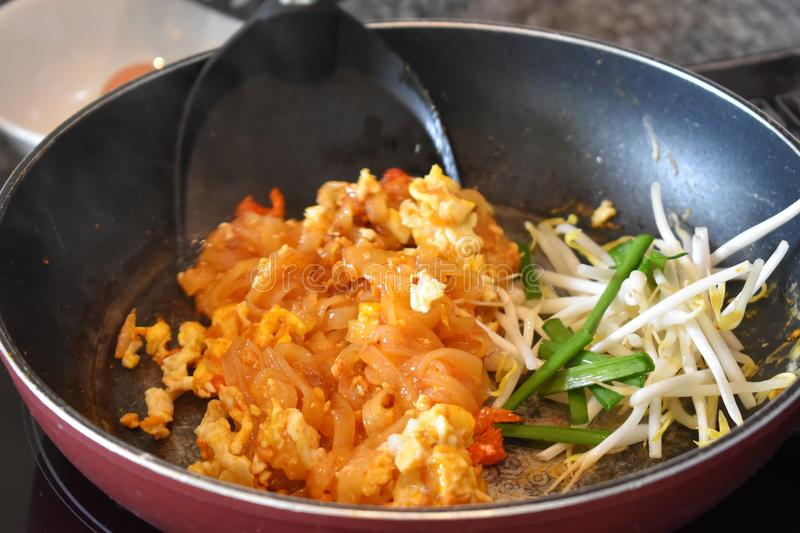 Pad Thai Noodle is Thai Food Style. The one of Thailand`s nation. Al main dish, the popular food in Thailand Photo royalty free stock image
