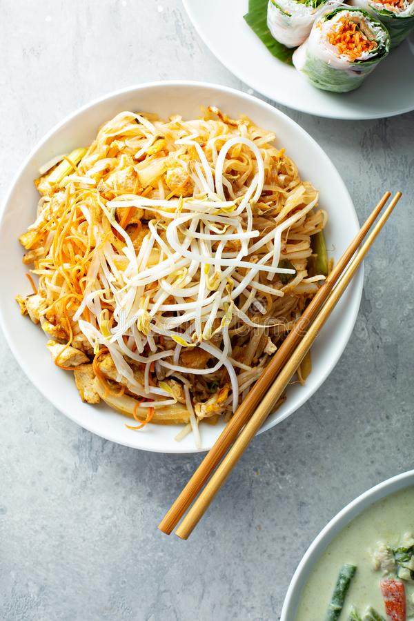 Pad Thai noodles with chicken royalty free stock photos